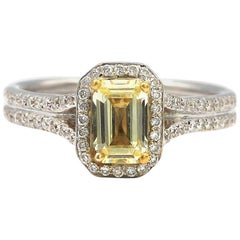 0.73 carat Emerald Fancy Yellow Diamond with White Pave Diamonds 18K White Gold