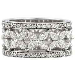 2.47 carat Marquise Shaped White Diamonds with .48ct Pave Diamonds Ring 18K