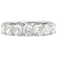 8.00 Carat Eternity Band with 15 G, VVS Cushion White Diamonds Platinum Ring