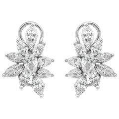 3.32 Carat Fancy Cut Diamond Cluster Earrings