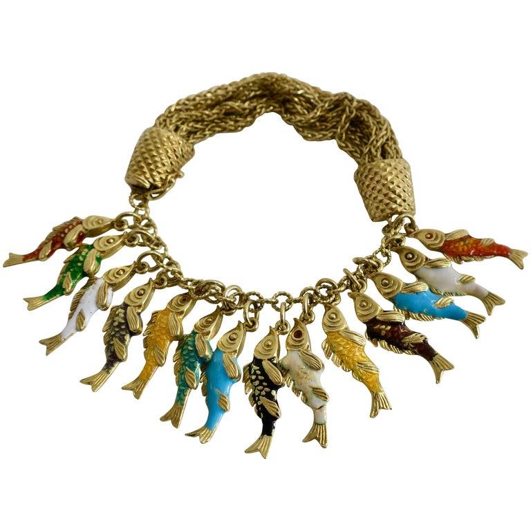 Whimsical Gold and Enamel Fish Charm Bracelet, France
