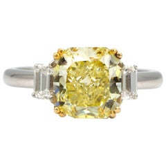 GIA Certified 3.34 Carat Radiant Cut Natural Yellow Diamond Ring