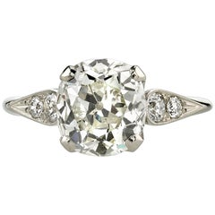 2.62 Carat Vintage Cushion Cut Diamond Engagement Ring