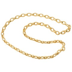 Peter Suchy Fancy Yellow Gold Link Chain Necklace