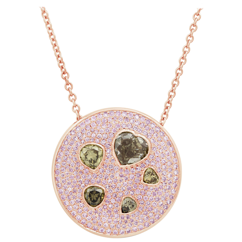 Fancy Color Heart Diamond Cluster Circle Pendant Necklace
