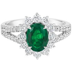1.17 Carat Oval Cut Emerald Halo Engagement Ring