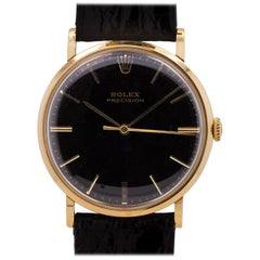 Rolex Yellow Gold Precision Dress manual wind Wristwatch, circa 1950