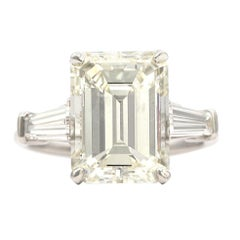 Certified 6.02 Carat Emerald Diamond Engagement Ring
