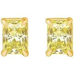 1.07 Carat Total Yellow Radiant Cut Diamond Stud Earrings