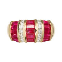 1.80 Carat Ruby Diamond Yellow Gold Cocktail Ring