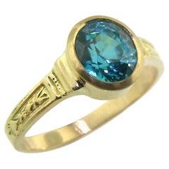 Blue Zircon and 18 Karat Gold Ring