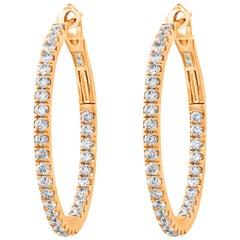 0.84 Carat Round Diamond Hoop Earrings in 18 Karat Rose Gold
