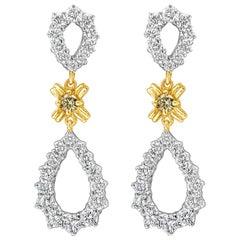 5.23 Carat Graduating Diamond Open-Work Dangle Earrings