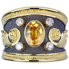 Georgios Collections 18 Karat Yellow Gold Byzantine Ring with Yellow Sapphire