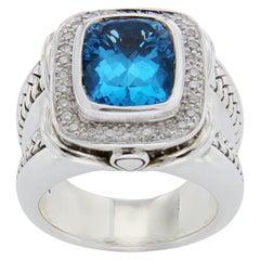 Scott Kay 925 Sterling Silver Diamonds Blue Topaz Ladies Ring