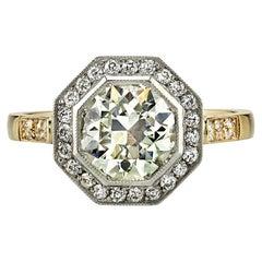 1.59 Carat Old European Cut Diamond Engagement Ring