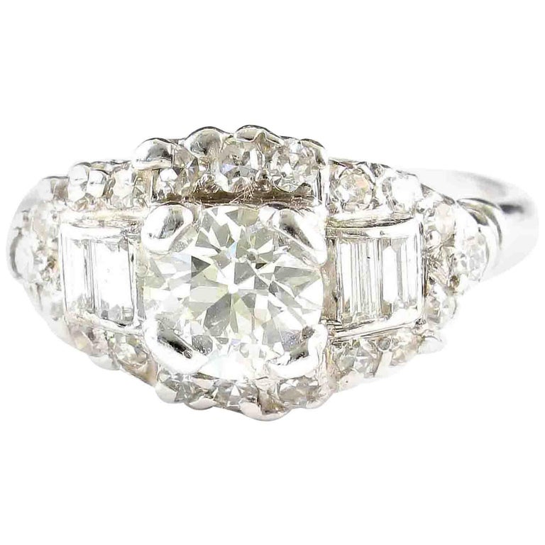 Art Deco Diamond Platinum Engagement Ring For Sale