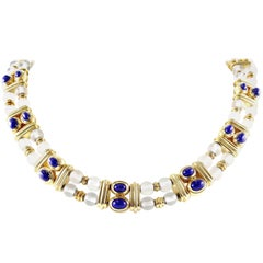 Boucheron Rock Crystal Lapis Gold Necklace