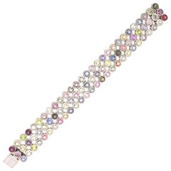 Multi-Colored Sapphire Bracelet, Approx 58 Carat, 18 Karat White Gold
