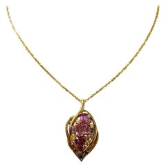Multi-Color Sapphire Dangle Pendant Necklace in 18 Karat Yellow Gold