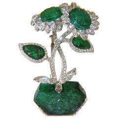 72.96 Carat Venus Fly Trap Natural Emerald Diamonds Brooch 18 Karat