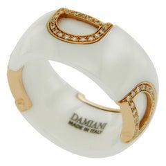 Damiani's D-Icon Ceramic 18 Karat Rose Gold Diamond Band Ring