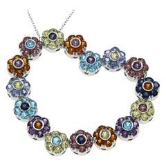 Pasquale Bruni Multi-Color Stones Flowers Large Heart Necklace