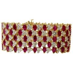 43.20 Natural Top Gem Ruby Diamond Bracelet Brilliant Blood Reds