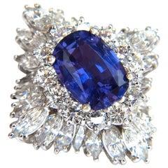 GIA 7.87 Carat Natural No Heat Vivid Purple Sapphire Diamond Ring Platinum