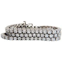 Natural Diamond Tennis Bracelet 12.32 Carat G/Vs 14 Karat Three Rows Brilliants