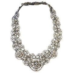 White Diamond Floral Necklace in 18 Karat White Gold and Black Rhodium