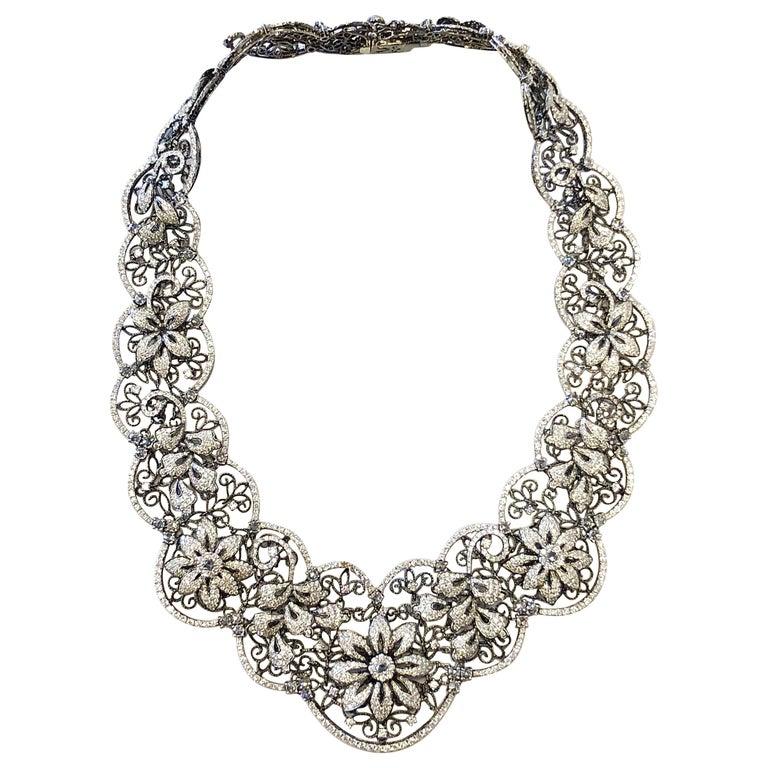 White Diamond Floral Necklace in 18 Karat White Gold and Black Rhodium