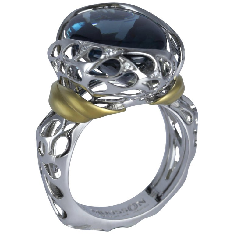 London Blue Topaz 18 Karat White Yellow Gold Ring