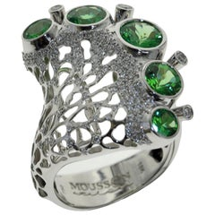 Tsavorite Diamond 18 Karat White Gold Ring