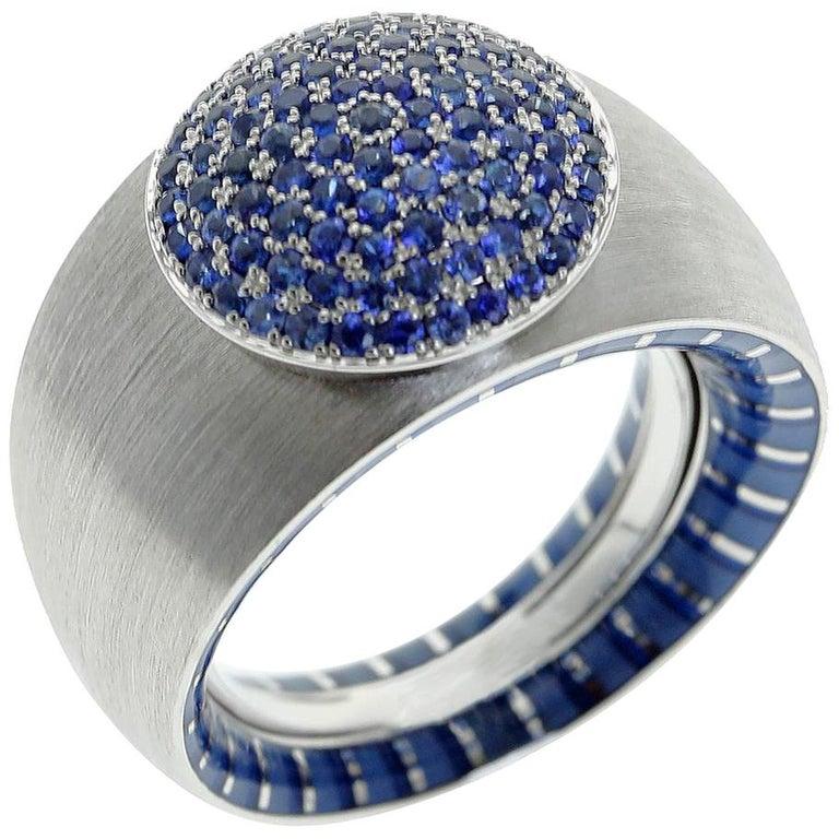 Kaleidoscope Collection Blue Sapphire Enamel 18 Karat White Gold Ring