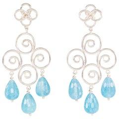 Silver Earrings With Briolette Kyanite Drops