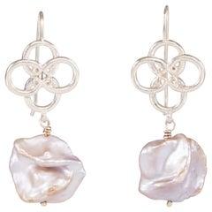 Silver Quatrefoil Freshwater Pearl Earrings