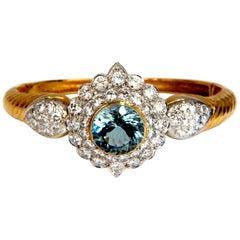 Aquamarine Diamonds Bangle Bracelet 18 Karat 15.50 Carat Natural Italian Cluster