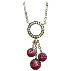 18K White gold diamond,Ruby and Pink Sapphire ball Necklace