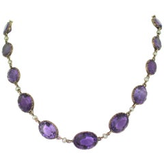 Victorian Amethyst and Pearl Riviere Necklace