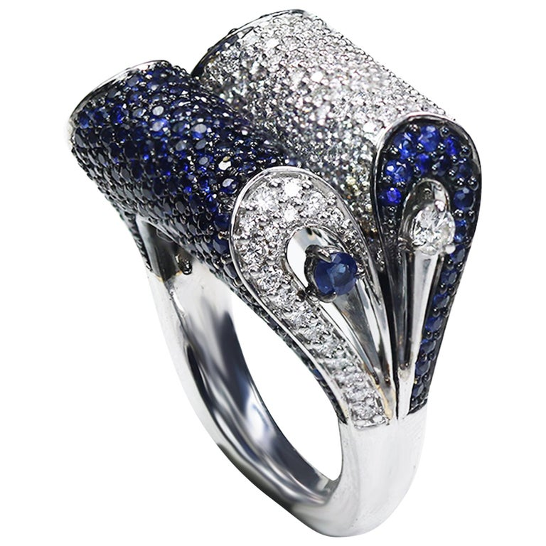 Studio Rêves 18K White Gold, Blue Sapphire and Diamond Dome Ring