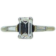 Modern Art Deco Emerald Cut Diamond Ring, Tapered Baguette Diamond Shoulders