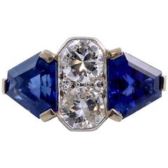 Art Deco 4.0 Carat Sapphire, 1.13 Carat Diamond Ring