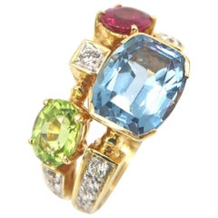 Two Band Blue Topaz Pink Tourmaline Peridot Diamond Gold Ring