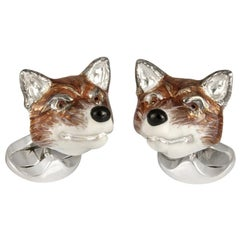 Deakin & Francis Sterling Silver Fox Head Cufflinks