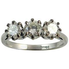 Vintage Diamond Engagement Ring, 0.82 Carat, Three-Stone Setting