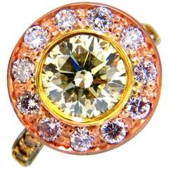 GIA Certified 3.67 Carat Fancy Round Diamond Ring Circular Flush Deck