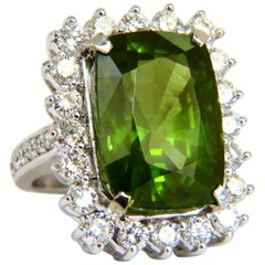 GIA Certified 18.58 Carat Natural Green Peridot Diamond Ring 18 Karat