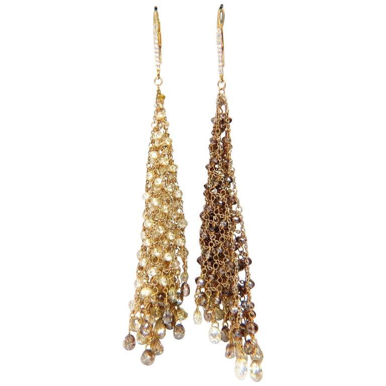 28.15 Carat Natural Fancy Color Briolette Diamond Dangle Earrings 18 Karat Mesh
