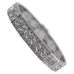 Renaissance Style 2.70 Carat White Diamond White Gold Bracelet